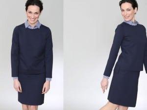 Damenmode, Businesskleidung Frauen, Helmkamp und Kallenborn, blaues Kostüm