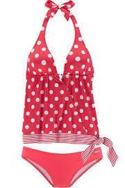 Freizeitmode Frauen, Bademode Frauen, Badeanzug rot mit Punkten