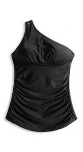 Freizeitmode Frauen, Bademode Frauen, Badeanzug schwarz one shoulder