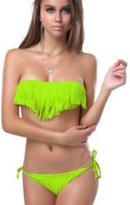 Freizeitmode Frauen, Bademode Frauen, Bikinioberteil mit Fransen grün