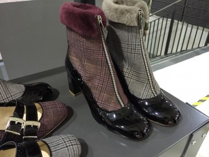 Fashion Week Schuhe mit Pelz, Stoff und Leder