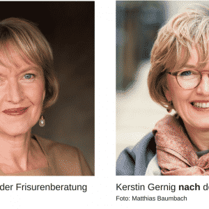 Dr. Kerstin Gernig vor und nach Frisurenberatung + Fotograf