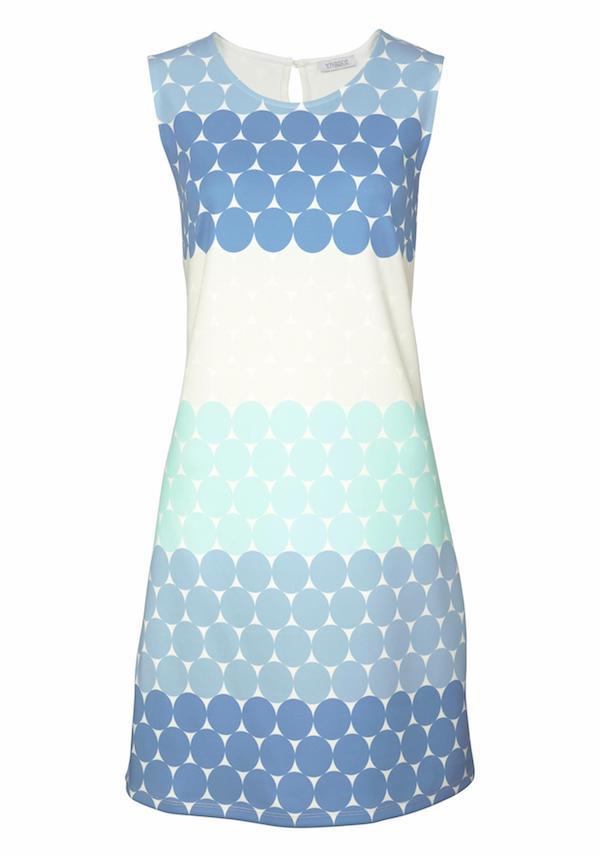 Kleid blau weiß mit Punkten